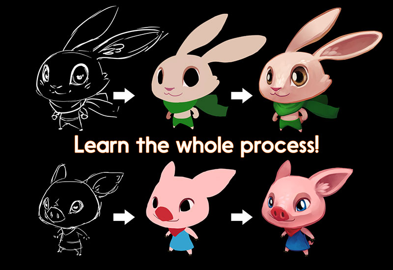 Creation process of 2 characters including the sketch, the blocking and the final sprite