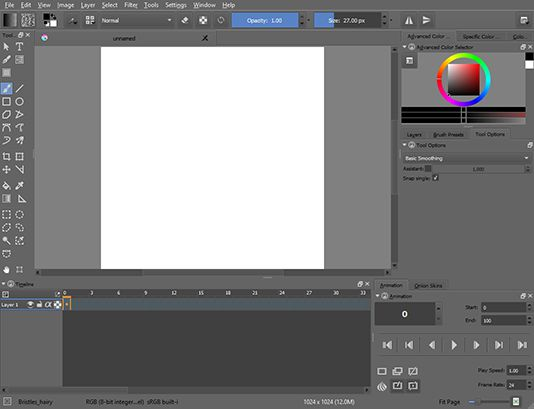 Krita's animation workspace