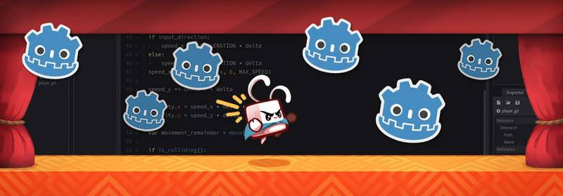Course banner: a jumping rabbit surrounded by Godot bot heads