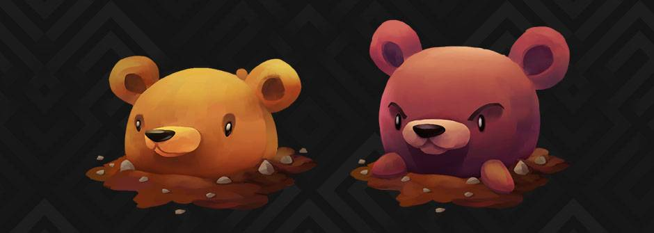 Course banner, 2 bear-like monsters painted in Krita